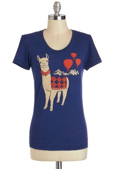 Llama Queen Tee - Jersey, Mid-length, Blue, Red, Tan / Cream, Casual, Short Sleeves, Print with Animals