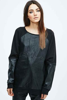 Minkpink Outbound Faux Leather Sweatshirt in Black