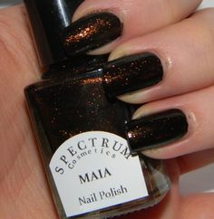Black Nail Polish with Copper Sparkle MAIA on Etsy, $8.50