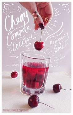Cherry Compote Cocktail by The Forest Door - a lifestyle, DIY, and design blog: