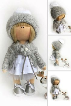 Winter Doll Textile Doll Baby Room Handmade Doll Poupée Cloth Rag Soft Doll Muñecas Gray Nursery Doll Fabric Doll Tilda Doll Natalia P Fabric Dolls, Rag Dolls, Waldorf Dolls, Soft Dolls, Handmade Home Decor, Crochet Dolls, Doll Patterns, Beautiful Dolls, Doll Clothes