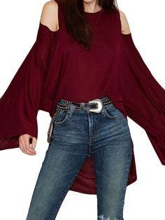 1294b1c917 Burgundy Cold Shoulder Flared Sleeve High Low T-shirt - Nextshe.co.uk.  Nextshe · For loving fashion girls
