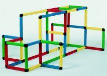 Quadro Junior II adventure play set. Modular tubes in four colors. Build climbing gyms, goal, even a desk. Has 390 components to build 32 different models. See now at $556.88 for USA shipment only.