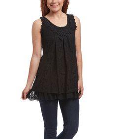 Loving this Black Ruffle Linen-Blend Tunic - Women on #zulily! #zulilyfinds