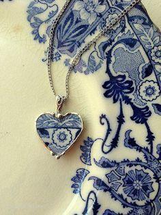 Broken china necklace heart pendant antique art nouveau flow blue broken china jewelry
