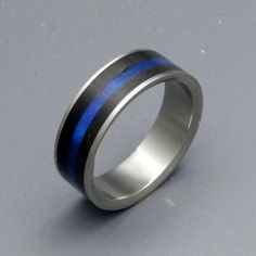 Image result for thin blue line wedding ring sets