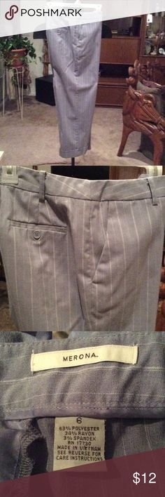 Merona ankle cropped capris Merona light gray with white pinstripes, cropped ankle capris. Excellent condition. Size 6. Light weight business or casual. Very comfortable. Merona Pants Ankle & Cropped