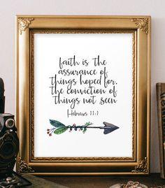 Biblical art quotes Hebrews 11:1 Bible verse by TwoBrushesDesigns
