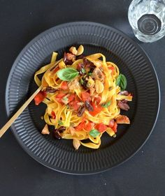 Fresh Tagliatelle With Turkey Puttanesca | RealSimple.com