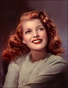 Color photo of Rita Hayworth 1940s - Born margarita carmen cansino  =  October 17, 1918 - May 14, 1987    Brooklyn, New York, USA - New York City, New York, USA