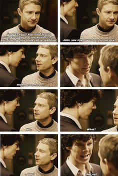 I love how loyal John still is to Sherlock, even after all the bad things he finds out about him so soon after they met. Sherlock Holmes Bbc, Sherlock Fandom, Sherlock Quotes, Sherlock John, Benedict Sherlock, Watson Sherlock, Jim Moriarty, Benedict E Martin, The Mentalist