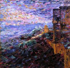 "The first of two paintings by German-Danish artist Emil Nolde: ""Blue Mood"" Emil Nolde, Klimt, Kandinsky, Vincent Van Gogh, Karl Schmidt Rottluff, Munier, Expressionist Artists, Edvard Munch, Art Pictures"