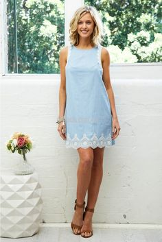Leighton Lace Dress in Light Chambray | St. Frock