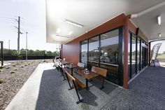 Custom solid timber Outside Seating | Beefy's Pies Mango Hill | New Store Design by Renew Design