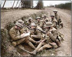 WWI, 16 April Onsite headquarters of the Battalion, Middlesex Regiment, whilst carrying out an attack near Meteren during the Battle of Bailleul. The commanding Officer is shown writing a report. World War One, First World, Old World, British Soldier, British Army, Commonwealth, Military History, Military Art, Poses