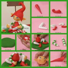 Christmas Elf Tutorial by Cold Porcelain Tutorials - The Cake Directory - Tutorials and Polymer Clay Ornaments, Polymer Clay Flowers, Polymer Clay Crafts, Diy Clay, Handmade Polymer Clay, Fondant Figures, Clay Figures, Cold Porcelain Tutorial, Christmas Cake Designs