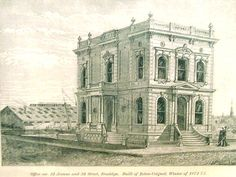 Historic 1873 etching of the Coignet Building, showcasing the versatility and elegance of cast, French concrete.