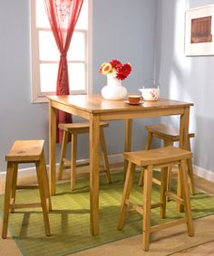 @Overstock.com - Belfast 5-piece Saddle Dining Set - An alternative to formal dining, this Belfast casual five-piece dining set will create a relaxed atmosphere with its distressed oak finish and simple design. The backless chairs and higher table make you feel like you are dining in your favorite cafe.  http://www.overstock.com/Home-Garden/Belfast-5-piece-Saddle-Dining-Set/2646387/product.html?CID=214117 $314.99