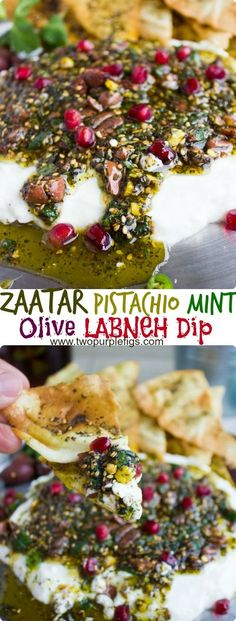 Labneh Dip with Zaatar Pistachio Mint Olive Topping. This the BEST lightest and most flavorful way to do a DIP! Use Greek yogurt for a quick substitute, and pile up the sweet, crunchy, spicy,toasty and salty--ABSOLUTELY delicious! Get the recipe for this Turkish Recipes, Greek Recipes, Persian Recipes, Olive Recipes, Arabic Recipes, Romanian Recipes, Indian Dessert Recipes, Mint Recipes, Scottish Recipes