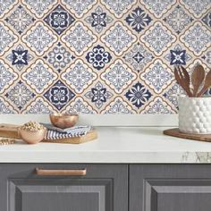 Mexican Tiles Peel and Stick Giant Wall Decals, Bl - Murales Pared Exterior Peel N Stick Backsplash, Peel And Stick Tile, Stick On Tiles, Peel And Stick Wallpaper, Wallpaper Backsplash Kitchen, Decorative Tile Backsplash, Tile Decals, Vinyl Wall Decals, Wall Stickers