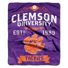 Clemson Tigers Royal Plush Raschel Throw Blanket Label Design (Pack of Clemson Tigers, Tiger Blanket, Tiger Team, Shops, School Colors, Label Design, Dorm Decorations, University, Plush