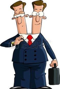 Cartoon d'affaires à deux têtes, illustration vectorielle