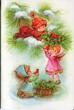 Unused Vintage Christmas Card: Children with Cardinals