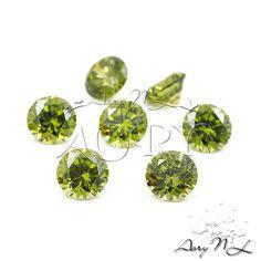 1pcs AAAAA 6mm Olive Cubic Zirconia Diamond Cut Round by AoryNL