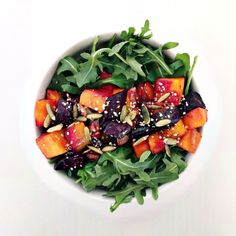 arugula salad with roasted beets, squash + shallots with apple cider vinaigrette