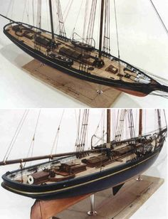 """Columbia 3/8"""" = 1' Scale • Centerboard schooner America's Cup contender representing the New York Yacht Club 1871. She was designed and built by J. B. van Deusen, owned by Franklin Osgood and mastered by Nelson Comstock. LOA: 112'; 220 tons. The model is accurately rigged, carries all basic deck gear and fittings, and is fully painted."""