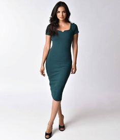 Our favorite courtship, darlings! Presenting The Harris Dress, a vintage amour and enchantingly fitted frock from Unique Vintage in a soft stretch knit that styles in a stunning dark teal. This elegant passion is crafted in a lightweight stretch blend and