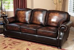 Abbyson Living Tannington Stationary Leather Sofa with Hand-Rubbed Upholstery Kiln Dried Hardwood Frame and Hand-Stitched Details in Two Tone Western Furniture, Brown Leather Sofa, Love Seat, Furniture, Sofa, Genuine Leather Sofa, Abbyson Living, Man Cave Sofa, Furniture Sale