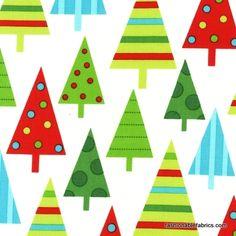 Fabric... Jingle Christmas Trees in Winter Robert Kaufman Fabrics