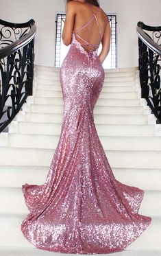 Rose Gold Sequin Mermaid Prom Dresses Long Spaghetti Strap Sexy Backless Evening Gowns V Neck Formal Party Dress 2016 Vestido De Festa Dress For Prom DressesWant a glamorous red carpet look for a frac. Sequin Prom Dresses, Prom Dresses 2017, Mermaid Prom Dresses, Short Dresses, Formal Dresses, Sexy Dresses, Dress Prom, Prom Gowns, Sequin Maxi
