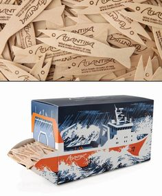 The goal was to create unique packaging to distribute custom fish forks for fish & chip shops who supply Atlantika fish. Very clever PD Chip Packaging, Food Packaging, Brand Packaging, Packaging Design, Product Packaging, Fish And Chip Shop, Chips Brands, Seafood Restaurant, Fish And Chips