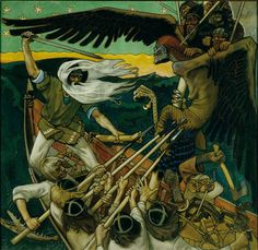 The Defense of the Sampo (Sammon puolustus) is a 1896 Romantic nationalist painting by Finnish painter Akseli Gallen-Kallela. The painting illustrates a passage from the Kalevala, the Finnish national epic compiled by Elias Lönnrot in the century. Runes Futhark, Goddess Of The Underworld, Gods And Goddesses, Tempera, Held, Mythical Creatures, Folklore, Pagan, Les Oeuvres