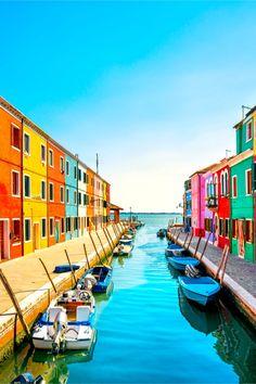 Burano island canal, Venice, Italy