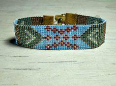 Red Star Loom Beaded Bracelet Tribal Bead by BeadWorkBySmileyKit