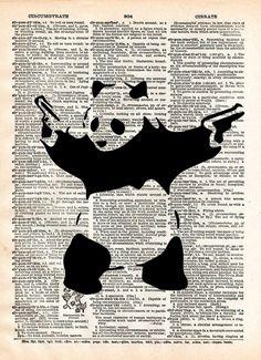 Banksy Panda with guns print, Panda bear art,Banksy wall art, vintage dictionary art