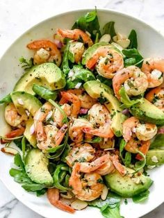 This simple, flavorful shrimp salad makes the perfect meal-prep meal for lunch or dinner thanks to pan-seared citrus shrimp, avocado, and sliced almonds. Shrimp Avocado Salad, Shrimp Salad Recipes, Avocado Salad Recipes, Salad Recipes For Dinner, Dinner Salads, Diet Recipes, Healthy Recipes, Pasta Salad, Chicken Salad
