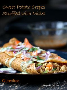 "The ultimate savory breakfast ""wraps"": these Smoky Millet Stuffed Sweet Potato Crepes with Jalapeno Aioli."
