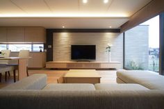 Home theaters minimalista Home, Home Theater Rooms, Japanese Living Rooms, Bedroom Interior, House Design, Living Room Designs, Living Room Entertainment, House Interior, Ceiling Design Bedroom