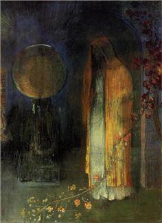 Symbolist painter Odilon Redon (French: 1840 – 1916)   The Yellow Cape