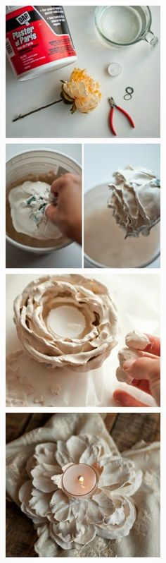 Plaster Flower Votives | Who said Crafts - There seems to be quite a bit of difference between the penultimate photo flower and the last but might be fun to try.