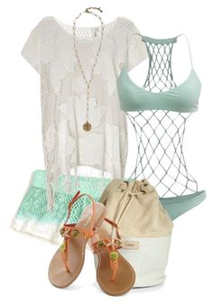 """""""Crochet Beach Outfit"""" by jay-to-the-kay ❤ liked on Polyvore featuring O'Neill, Seafolly, Mikoh, Chloé, Lucky Brand, sandals, swimwear, crochet, swimsuit and bucketbag"""
