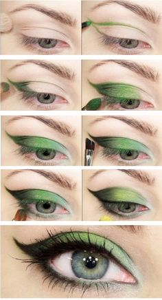 eyes make up with green shadow. Beautiful? Do u want to try to make up your eyes like this?