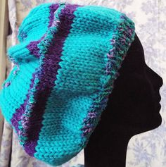 Child Teen Adult Teal Purple OOAK Hand Knit Beret Hat made by by JustAMomFromNH