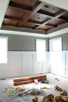 """All I could say is, """"Wow!"""" That looks gorgeous. I am a sucker for architectural details. This wood stained coffered ceiling turned out to be very beautiful. I can't wait until we can do some thing like this in our house.  Submitted ByOur Small-Town Idaho Life See how Andrew and Rachel accomplished this task …"""
