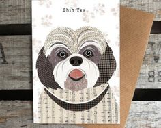 These unique greetings cards feature the quirky, characterful dog illustrations by artist Simon Hart created using collage with Harris Tweed fabrics, vintage papers and sheet music. Any dog lover would be delighted receiving one of these beautiful quality cards that come supplied with a brown kraft envelope and wrapped in clear cello bag. Left blank inside for your own message.. There are 52 breeds of dog to choose from in the Pawtraits range of cards which can all be seen as separate card…