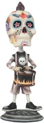 "7"" Day of the Dead Sugar Skull Playing the Drums Figurine Statue Skeleton"